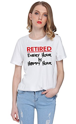 So'each Women's Retired Happy Hour Graphic Printed Tee T-shirt Tops