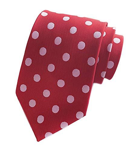 Men's Hot Red Silk Ties White Polka Dot Cravat Woven Neckties for Wedding Dress Uniforms