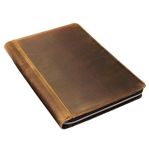 Crazy-horse Leather Portfolio Vintage Padfolio Case Professional Business Organizer Folder Tablet Pad Folio, with Letter Size Notepad, Zippered Closure (Custom, ()