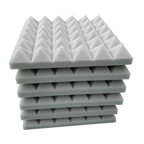 (Sun·Light 6Pcs Acoustic Foam Panel Sound Stop Absorption Sponge Wall Stickers Sound Insulation Wall Decoration Acoustic Foam Panel Studio KTV Soundproof Acoustic Foam Tiles (Gray))