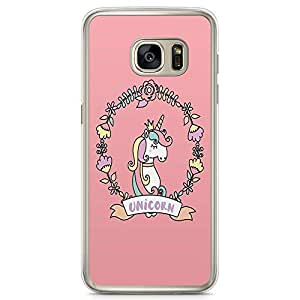 Samsung Galaxy S7 Transparent Edge Phone Case Unicorn Phone Case Pink Border Phone Case Pink Samsung S7 Cover with Transparent Frame