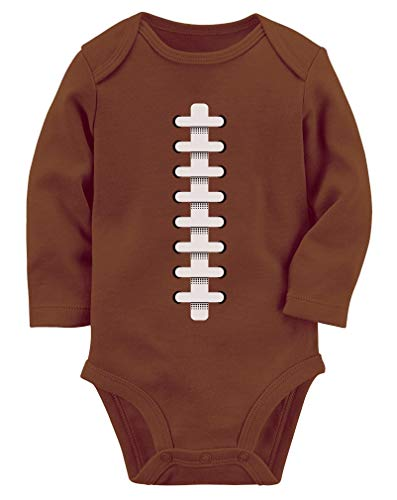 Football Ball Funny Baby One Piece Fans Gift Infant Baby Long Sleeve Bodysuit Newborn Brown]()