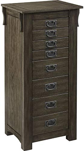 Powell Ziva Wood Jewelry Armoire in Gray