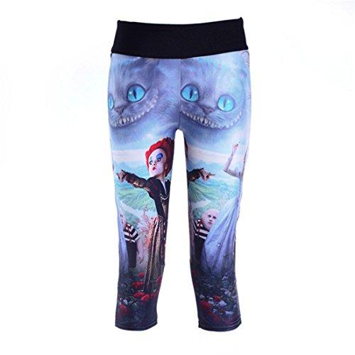 Women's 3D Alice In Wonderland Printed Deportivas Mujer High Waist Fitness Capri Tights Leggings Beige / (Alice In Wonderland Tights)