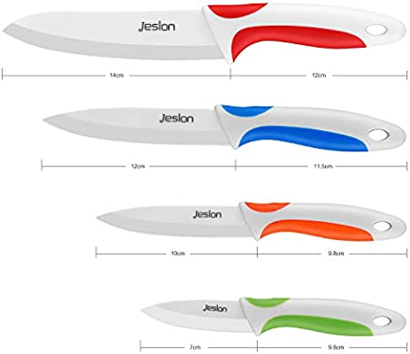 Jeslon Cuchillos de Cerámica Set 4 Piezas Cuchillos de Cocina incluir 6 cuchillo de pan, 6Chef cuchillo, 5 utilidad/cortar, 4 cuchillo de ...