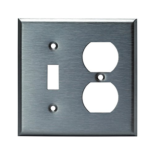 ENERLITES Combination Toggle Light Switch/Duplex Receptacle Outlet Metal Wall Plate, Corrosive Resistant, Size 2-Gang 4.50