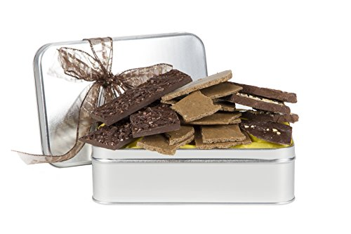 Cafe Trio Chocolate Bark Gift Tin: Mouth-Watering Flavors with Unique Coffee Flair - Gourmet Gift Basket Fit For Any Holiday Shopping List - Thanksgiving, Christmas, Hostess Gift Tray