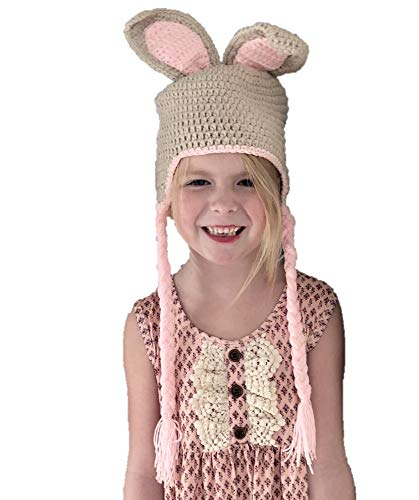 Jennifer + June Baby and Toddler Crochet Hats. (Pink and Brown Bunny 2T, 3T, 4T and 5T) ()