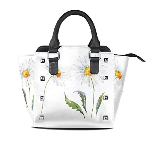 Fresh Daisy Watercolor Leather Handbags Purses Shoulder Tote Satchel Bags -