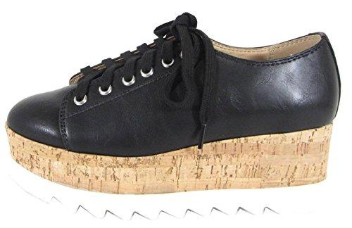 SODA Women's Cork Sole Platform Wedge Lace up Oxford Shoe,7.5 M US,Black ()