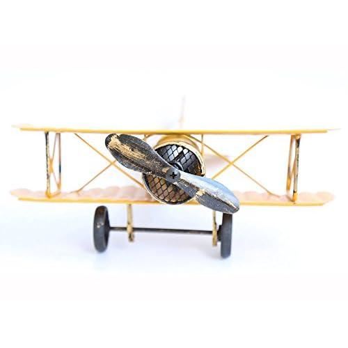 Avions Vintage Modèle Retro Métal Aircraft Planeur Biplan Modèle Pendentif pour cadeau de Noël Avion photo Props Accueil Bar Cafe Ornement Décor Vitrine (Jaune)