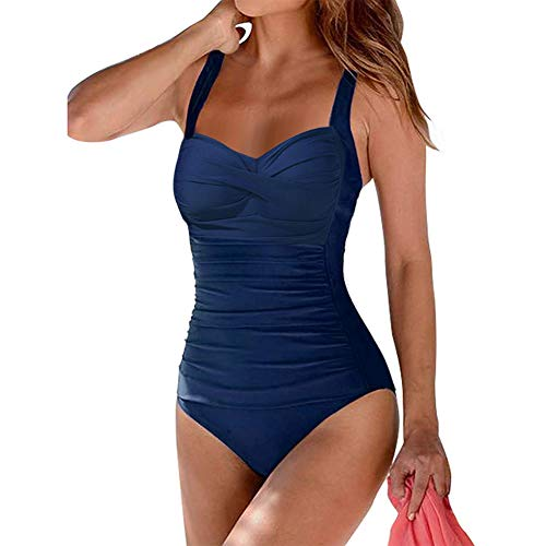 a70b58a0f835e Women s One Piece Swimsuits Tummy Control Monokini Swimming Bathing Suit  Vintage Swimwear (Navy Blue