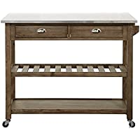 Boraam Wood & Stainless Steel Drop Leaf Kitchen Cart, One Size, Barnwood Wire-Brushed