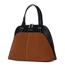 Kadell PU Leather Top Handle Satchel Handbags Shell Shape Color Stitching Purse Shoulder Bag Brown