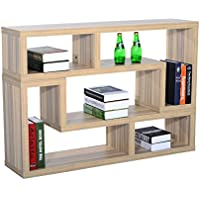 HomCom Dual Unit Contemporary TV Console Bookcase Stand - Oak
