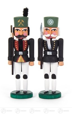 (Nutcrackers mini miner and hewer height of approx. 9 cm ore mountains Nutcracker Christmas figure wood)