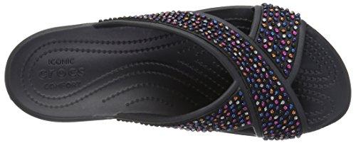 Crocs Damen Sloane Verfraaid Xstrap Sandalen Flipflops, Weiß Zwart / Multi