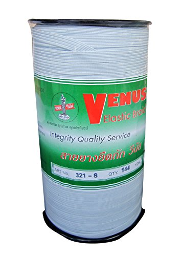 Venus Elastic White Band Tape Braid 8 Cord 144 Yard length Factory Strength Roll (144 Yard Roll)