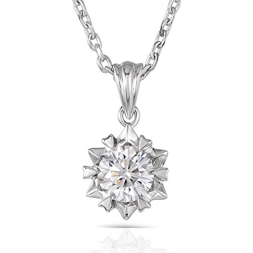 DovEggs Platinum Plated Silver 1ct 6.5mm H-I Color Heart Arrows Cut Moissanite Pendant Necklace for Women