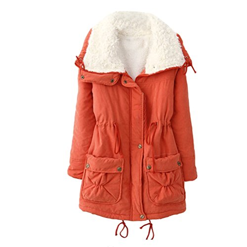 Cotton Pocket Girls Sleeve Outdoor with pour Ladies Chic Long Jackets Workers Hiver et Zhhlinyuan Zip Coats Orange élégant Thicken AwIvxxZq