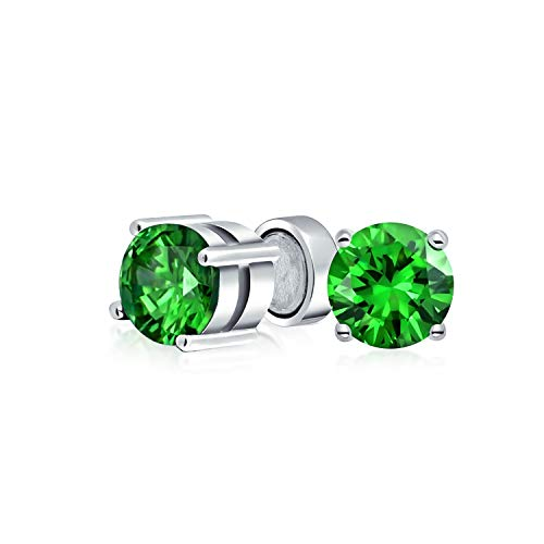 - 1.25CT Round Green CZ Simulated Emerald Magnetic Solitaire Clip On Stud Earrings For Non Pierced 925 Sterling Silver