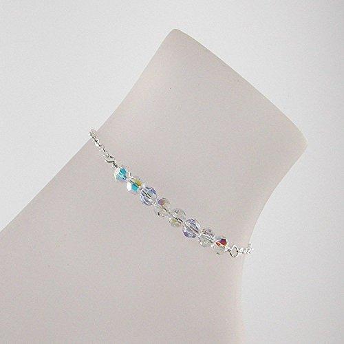 Crystal Silver Sterling Bracelet (Clear AB Swarovski Crystal Sterling Silver Anklet, Crystal Ankle Bracelet)