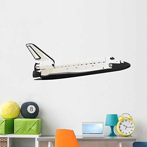 Wallmonkeys Space Shuttle Wall Decal Peel and Stick Decals for Boys (60 in W x 35 in H) WM141865 (All The Best For Future Endeavours)