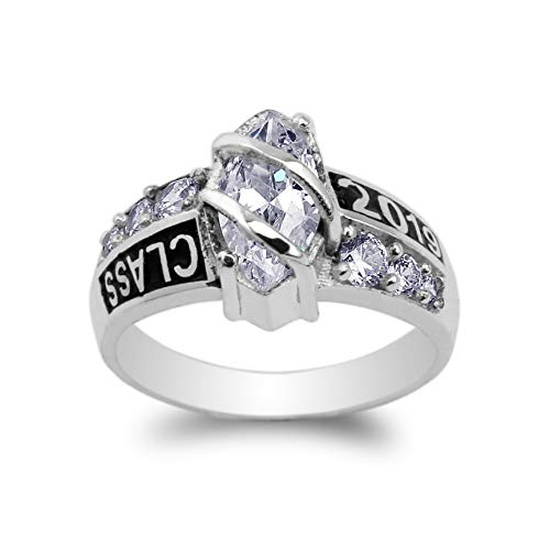 Ring Class 10k (10K White Gold Class of 2019 1.25ct Marquise CZ School Graduation Ring Size 9.5)