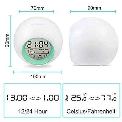 BZ Alarm Clock for Kids, 7 Colors Changing, LED Digital, Round, Battery, Temperature Detect, One Tap Control, Alarm Setting, Snooze, 12/24 H, for Kids, Home(Green): Home & Kitchen