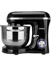 Arebos köksmaskin 1500 W med 6 L kylskål i rostfritt stål   omrörning   knådkrok   slagbeslag och stänkskydd   6 hastigheter ljudlös degmaskin   svart