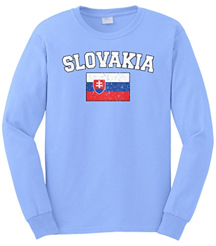Cybertela Men's Faded Distressed Slovakia Flag Long Sleeve T-Shirt (Light Blue, Medium) (Weiß-american Flag Shirt)
