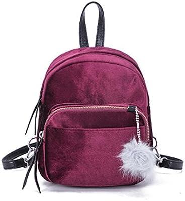 Mochila, Manadlian Mujeres sólidas Mini mochila de piel Bolso de moda Bolsas de viaje para niñas (19*8*21cm, Rojo)