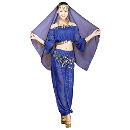 Maylong Women's Long Sleeve Belly Dancing Outfit Halloween Costume DW17 (Royal -