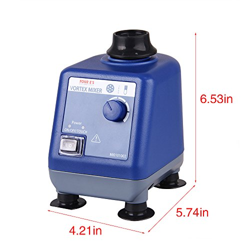 Four E's Scientific Laboratory Vortex Mixer Speed 0-3000rpm, Orbital Diameter 6mm, 50/60Hz, Touch and Continuous Modes, Mix 50ml containers Within 3 Seconds - Benchtop for Clinic Classroom Lab by FOUR E'S SCIENTIFIC (Image #1)