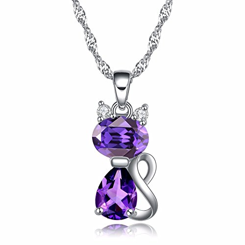 Rinntin Cat Necklace, Fashion Jewelry, Cute Necklace for Women Girl with Swarovski Element Crystals. Purple (Gift Box and Velvet Pouch)