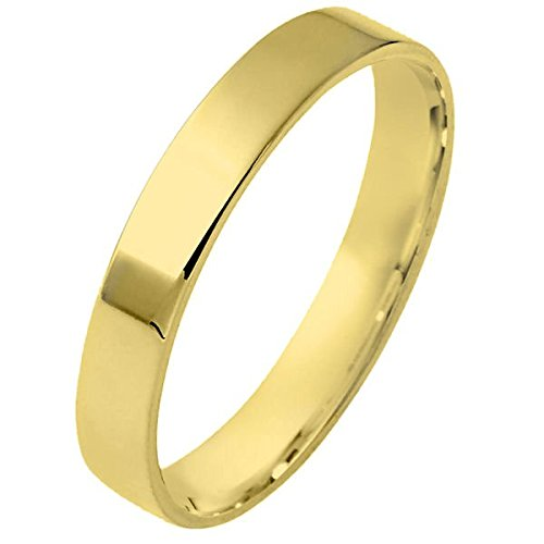 Flat Classic Fit Unisex wedding-bands 14K Yellow Gold 4mm Wide Plain