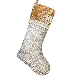 Christmas Stockings with Baroque Patterns & Ruffle Cuff Trim