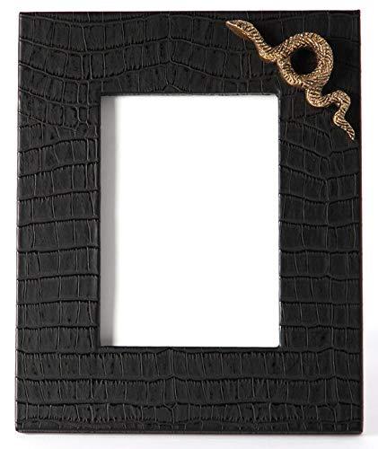 Carla Carstens Noir Black Croc Faux Exotics Medium Leather Frame | 5 x 7 Suede Glass | Tabletop Desktop Photo | Wedding Personal Personalized