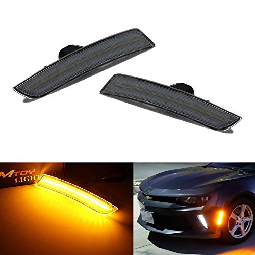 - iJDMTOY Smoked Lens Amber Full LED Front Side Marker Light Kit For 2016-up Chevy Camaro, 2014-up Cadillac CTS, 2015-up Cadillac ATS, Powered by 45-SMD LED, Replace OEM Sidemarker Lamps