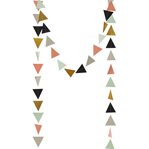Birthday Garland - Ling's moment 9 Feet Colored Triangle Garland Geometric Banner, Bridal Shower, Baby Shower, Birthday, Spring Theme Party Garland (Gold Glitter,Mint,Coral,Gray,Black)