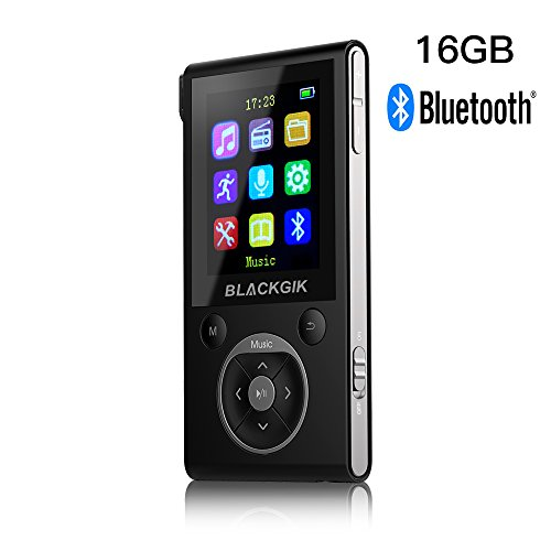 16GB Bluetooth MP3 Player with 50 Hrs Audio Playback,HiFi Lossless Music Player with FM Radio and Pedometer,Earphone and AUX Cable Included(Black+Silver)