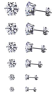 Outop Platinum goldplated round zircon stud earrings set of 6