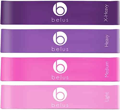 Resistance Bands by Belus with Carry Bag, Video Download and eBook. Set of Four Loop Bands for Exercise, Rehabilitation and Fitness