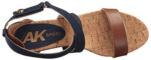 Anne Klein Ak Sport Womens Crisscross Fabric Denim / Cognac Multi