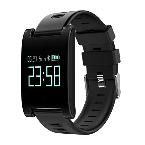 Fitness Bluetooth Smart Watch Waterproof -Wrist Watch Bracelet -Sport Watches with Heart Rate, Blood Pressure, Blood Oxygen Monitoring Step,Calls Messages for iOS 8.0 + & Android 4.3+ (Black) by Aurorax