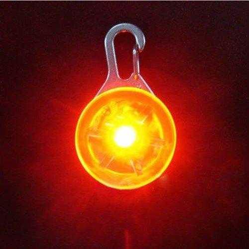 COFFLED® LED Flasher Pet Dog Blinker Circular Light Pendant Collar Buckle Clip Safety (Orange)