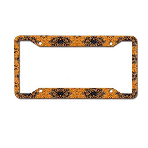 WATINCFlagHomegg Orange Gothic Mandala and Cross Tile Personalized Auto Truck Car Front Tag Humor Funny Aluminum Metal License Plate Frame Cover 12 x 6 Inches 4 Holes.