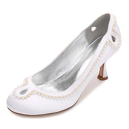Hebilla R17061 Cerrada Zapatos Bajo White L 36 De La Del yc Bloque Talón Mujeres Boda Rhinestone Novia Satén Las Zn88OUwXq