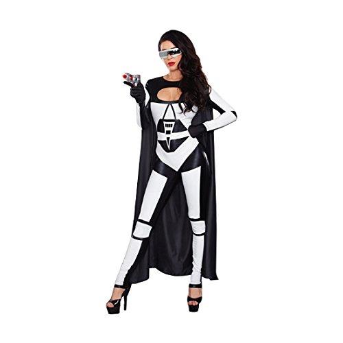 Dreamgirl Women's Space Battle Babe Costume, Black/White, Small -