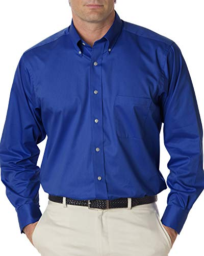Van Heusen Men's Long Sleeve Relaxed Twill Dress Shirt, Royal Blue, Medium